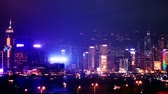 hong kong : Hong Kong cityscape at night. time lapse