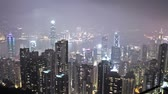 hong kong : skyline of Hong Kong city from victoria peak. time lapse