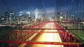 Brooklyn bridge traffic at night, time lapse