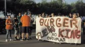 motto : 29072018 Gijon, Asturias, Spain Protest actions of employees against Burger King restaurant net, police regulation, 4k Stock Footage
