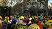 protester : BARCELONA, SPAIN, 12.20.2018: A firefighters strike against violation of workers rights