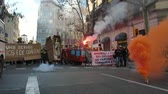 bombeiro : BARCELONA, SPAIN, 12.20.2018: A firefighters strike against violation of workers rights