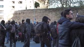 カタルーニャ : Barcelona, Spain 12.21.2018 : Catalan nationalist uprising against the government and police of Spain in Barcelona