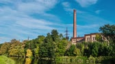 autumn : Old factory time lapse Stock Footage