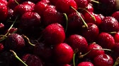 bereket : Fresh cherry with water drops on dark background. Fresh cherries background. Healthy food concept.