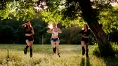 sportwear : Group training kangoo. Three girls at sunset perform dynamic exercises aimed at weight loss and muscle strengthening Stock Footage