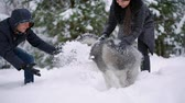 nevetés : Man and woman have fun walking with Siberian husky in winter forest playing and throwing snow Stock mozgókép