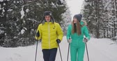 nyugdíj : Slow motion shot of a loving couple skiing in the woods on the eve of Valentines day