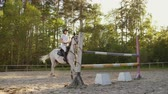 eyer : Show jumping from professional horsewomen Stok Video