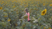 smiling girl : Young woman among sunflowers. Girl in a field of sunflowers. Girl goes through the sunflowers. Summer, nature, sunny weather. Slow motion. Panoramic view.
