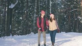 a couple of smiling young people in winter clothes in a snowy forest on a sunny day strolling through the park Stockvideo