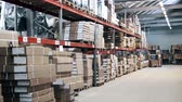 large warehouse with shelves and boxes Stock mozgókép