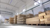 wood flooring : large commercial warehouse with plywood sun Stock Footage