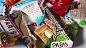 roma : Tourism concept Travelling souvenirs Paris Holland fridge magnets Stock Footage