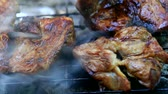 pieczeń : Roasting fresh meat on barbecue closeup