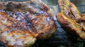 bbq ribs : Roasting fresh meat on barbecue closeup