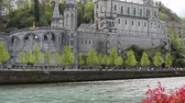 FRANCE, LOURDES. View of the cathedral in Lourdes, France Wideo