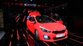 kia : Presentation of the new KIA ceed sw estate car at the KIA booth of the IAA International Motor Show 2015 Stock Footage
