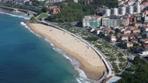 Aerial view of a beach in the city of San Sebastian, Basque country, Spain