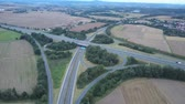 Highway intersection aerial view. Drone footage