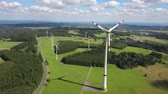 Wind turbines or sustainable and clean energy. Drone footage