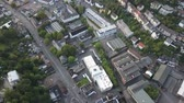 Aerial view over a street in the city of Siegen. North Rhine-Westphalia, Germany