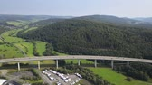 German autobahn highway viaduct bridge view from above Stock Footage