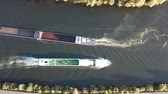 Aerial shot of two cargo ships on the Moselle river in Germany Stock Footage