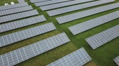 Aerial shot of a photovoltaic solar power station Stock Footage