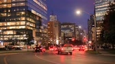 Toronto, Canada - Oct 20, 2017: Street in the city of Toronto illuminated at night. Province of Ontario, Canada Wideo