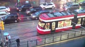 Toronto, Canada - Oct 15, 2017: Time lapse of a streetcar in the city of Toronto at a rainy night. Province of Ontario, Canada Wideo