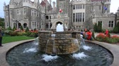Toronto, Canada - Oct 12, 2017: Fountain at the Casa Loma - the historic landmark of Toronto. Province of Ontario, Canada Stock Footage