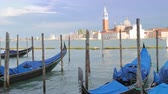 посетителей : Some empty gondolas in Venice, moved by waves, waiting for tourists in Italy, Europe Стоковые видеозаписи