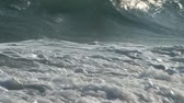 Blue white ocean wave Full HD footage Zoom in  Stock Footage