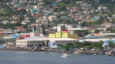 Sea coast and city on the hillside. Kingstown, Saint Vincent and Grenadines Vídeos