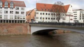 River, bridge and city. Ulm, Baden-Wruttemberg, Germany Dostupné videozáznamy