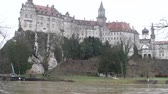River and castle on shore. Sigmaringen, Baden-Wurttemberg, Germany