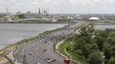 russian city : Transport dam, Kazanka river and Kazan Kremlin. Kazan, Tatarstan, Russia Stock Footage