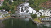 Settlement and falls on the hillside. Hellesylt, Norway