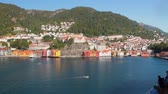 hillside : City on coast of sea gulf. Bergen, Norway