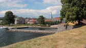 cais : View of city from Christianholm. Kristiansand, Norway Stock Footage