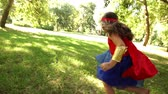 sister : Happy superhero girl Stock Footage