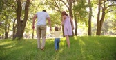 holding : Rear view of a young family walking in a sunlit park holding hands in slow motion