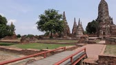 Wat Chaiwatthanaram One of the ancient site of Ayutthaya is a popular tourist ride. Ayutthaya, Thailand Stock Footage