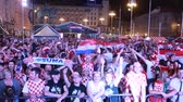 ZAGREB, CROATIA - JUNE 16TH, 2018 : Croatian football fans celebrate win of Croatia football team vs Nigeria with the result of 2-0 on Fifa World cup 2018 on Ban Jelacic Square in Zagreb, Croatia.