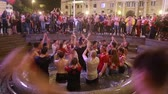 ZAGREB, CROATIA - JULY 11, 2018 : Croatian football fans celebrating victory of 2:1 Croatia vs England in semifinales Fifa World cup 2018 in water fountain Mandusevac on Ban Jelacic Square. Stock Footage
