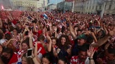ZAGREB, CROATIA - JULY 15, 2018 : Croatian football fans celebrate goal in the finale game with France on the World Cup 2018 FIFA on Ban Jelacic Square in Zagreb, Croatia.