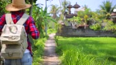 Traveler woman with backpack walking among rice fields, active lifestyle, happy summer vacation in Asia, slow motion, Full HD Video 1920x1080 Wideo
