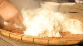 Stick rice boil steam in weaving bamboo and pot, video HD Clip.