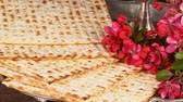 judaico : Pesach Still-life with wine and matzoh jewish passover bread